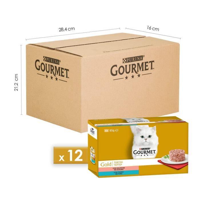 Gourmet 12355343 - COMMUTATEUR KVM - Gold Plain pour Le Chat avec Saumon, Thon, 4 x 85 g ? Lot de 12 pièces