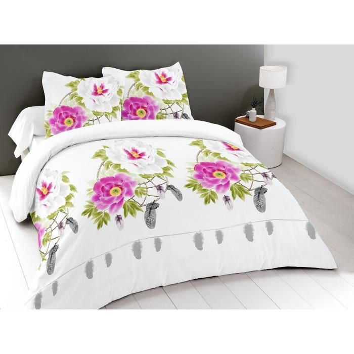 HOME DECO - Parure de drap 4 Pieces 2 places 160 x 200 cm - 100% Coton 57 fils/cm2 - PIVOINES BLANC