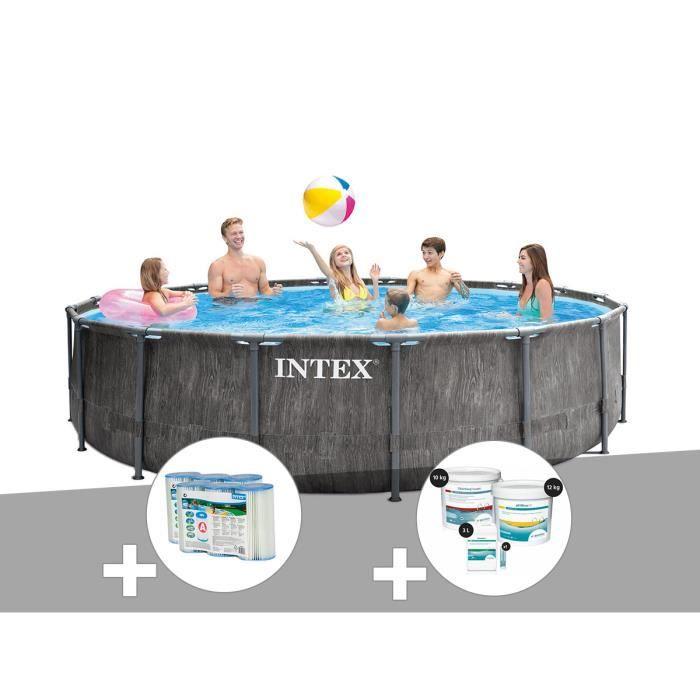 Kit piscine tubulaire Intex Baltik ronde 5,49 x 1,22 m + 6 cartouches de filtration + Kit de traitement au chlore Gris Effet Bois