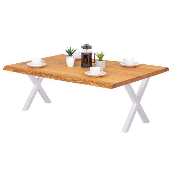 LAMO MANUFAKTUR Table basse en bois - salon - bord naturel - 120x80x47cm - frêne rustique - pieds métal blanc - modèle design