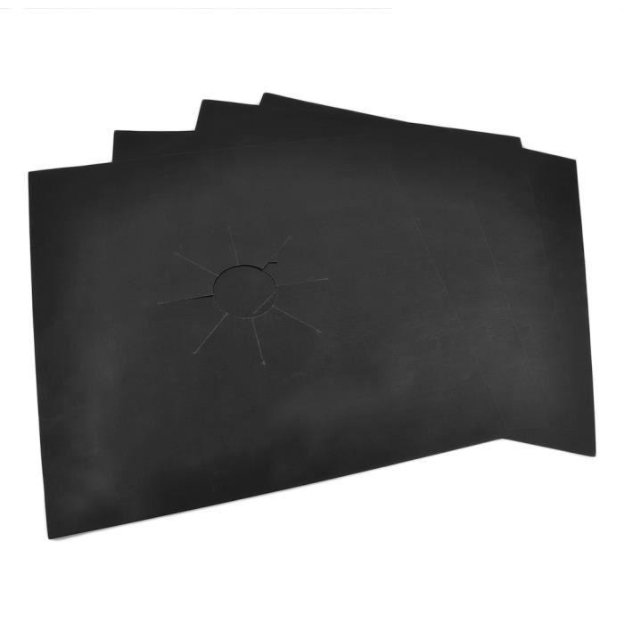 Feuille d'aluminium réutilisable 4 pcs - lot protecteurs de cuisinière à gaz couverture lave-vaisselle, noir