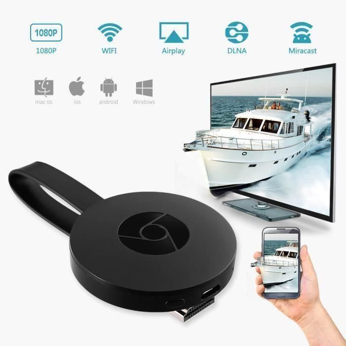 LETOUCH G2 Pour Google Chromecast 2nd Digital HDMI Media Vidéo TV Streamer Wi-Fi 1080P - noir