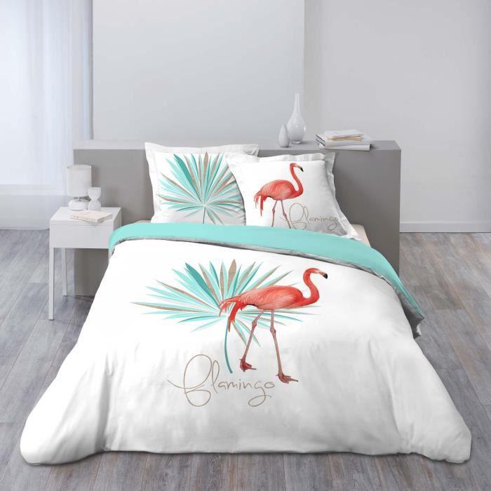 CDaffaires so parure 3 p. 200 x 200 cm imprime 42 fils dessin place flamingo folie