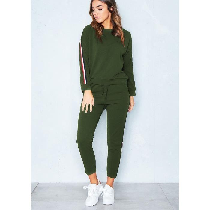 Vêtements pour Femmes Sweat-Shirt Manches Longues à Capuche + Pantalon de Sport Ensemble 2 Pièces S-XXXL Vert Armée