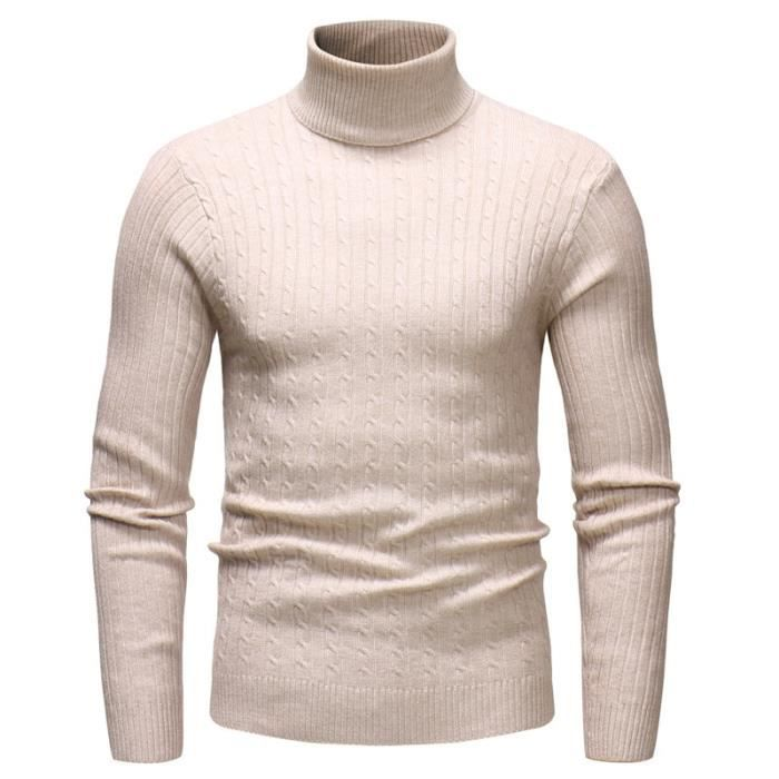 Pull col montant homme à manches longues Pull Hommes Pull irlandais
