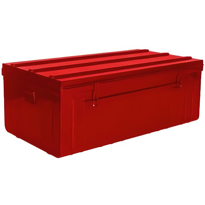 Malle de rangement en métal rouge 175 litres 100 x 55 x 40 cm