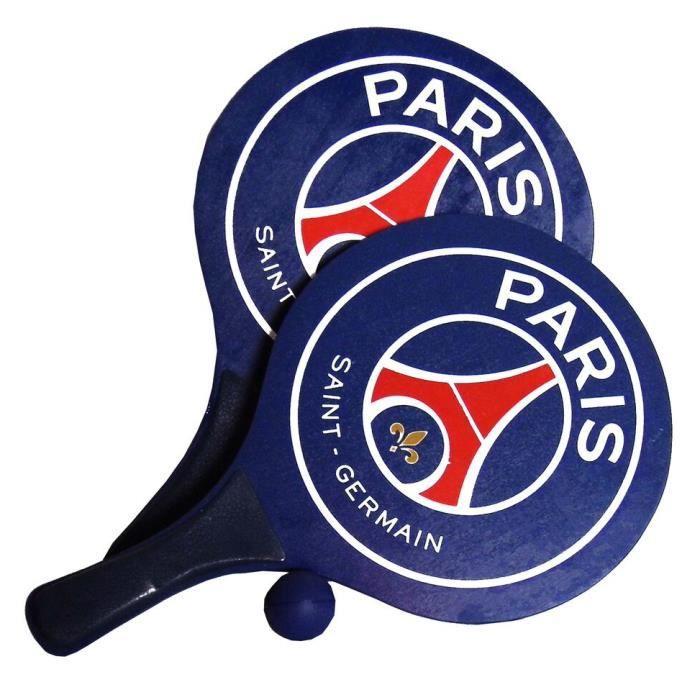 PSG - Set Raquettes de plage sous Licence Officielle - Manche en plastique - 2 lots : raquette et balle - Dimension : 33 x 18,3 cm