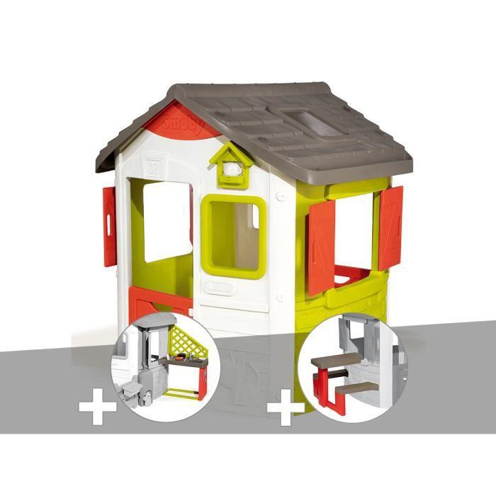 Cabane enfant Neo Jura Lodge - Smoby + Cuisine d'été + Table pique-nique 115,4 x 123,3 x 132 cm