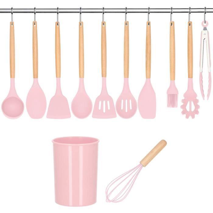 SPRINGOS® 12pcs Set ustensiles de cuisine en silicone avec Boîte de rangement Coffret - Rose