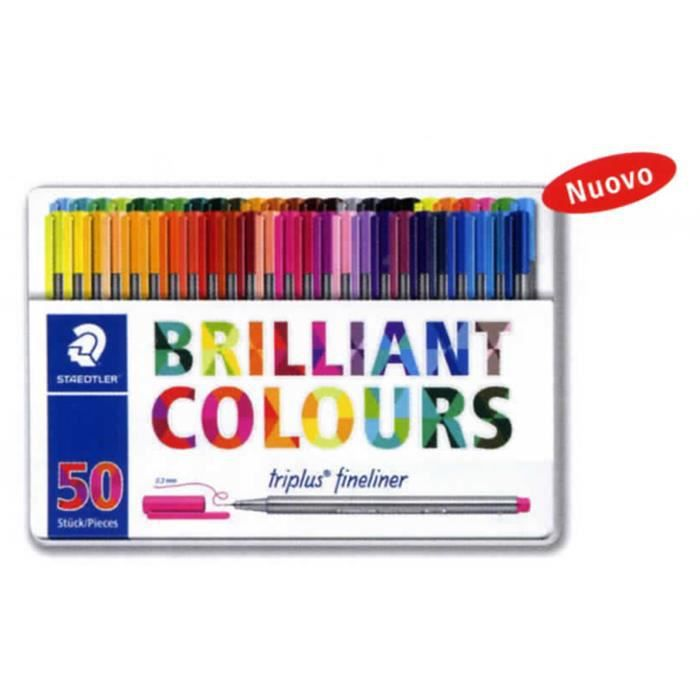 Staedtler Triplus Fineliner, Astuccio Di Metallo Brilliant Colours Design Con 50 Penne In Colori Ass