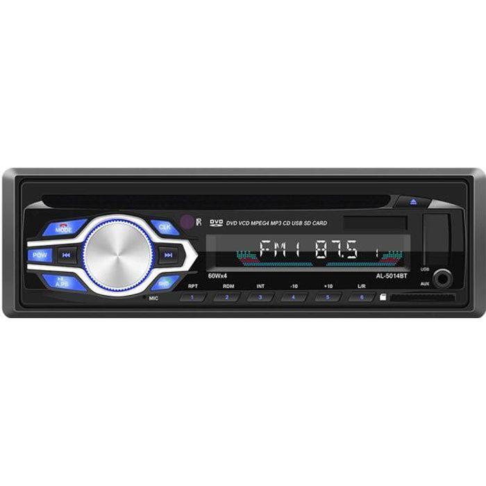 Autoradio Voiture Stéréo Mains Libres Bluetooth pour voiture Radio FM Lecteur MP3 Lecteur/CD Bluetooth/USB 12/24V avec télécommande
