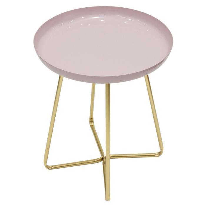 Table d'appoint en métal design Glossy - Diam. 40 x H. 48 cm - Rose pastel