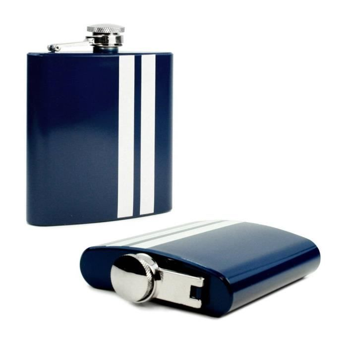 Flasque Alcool whisky inox 6 oz - Blue