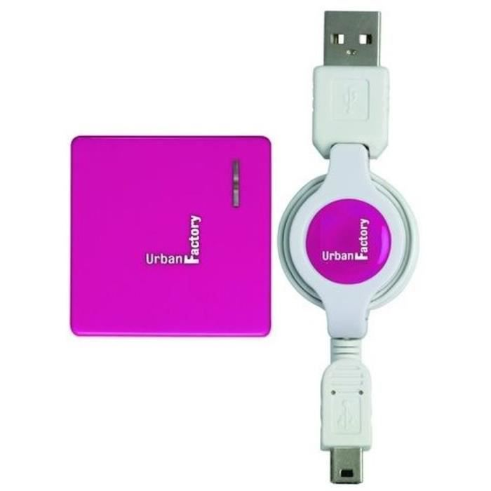 URBAN FACTORY Concentrateur Crazy Hub USB - 4 ports 2.0 - Retractable - Fushia