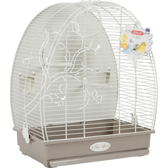 ZOLUX Cage Alice pour oiseaux avec fond métal - L 41 x P 30 x H 49,5 cm - Gris taupe