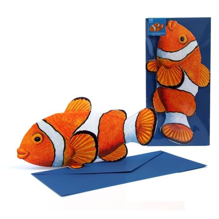 Carte de voeux poisson clown 3d achat vente carte for Poisson clown achat