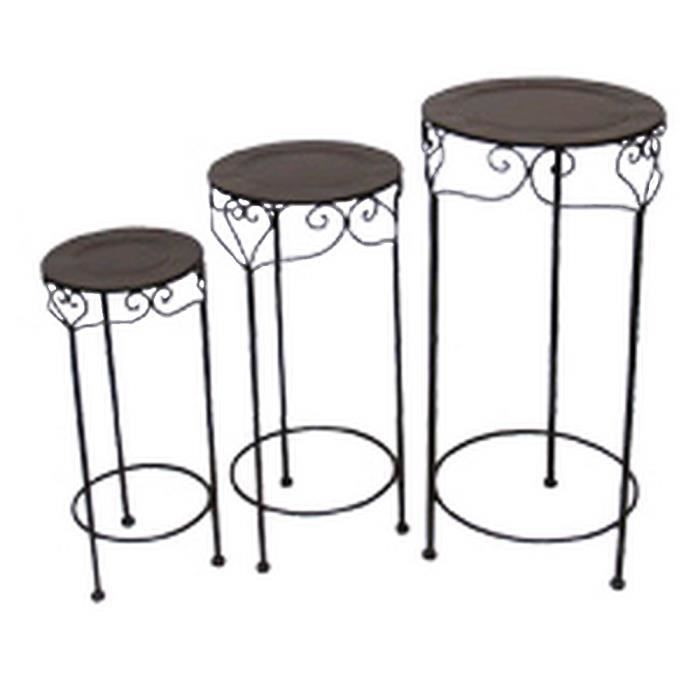 sellettes porte pot rondes fer forge charme achat vente meuble support plante sellettes. Black Bedroom Furniture Sets. Home Design Ideas