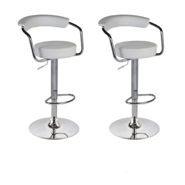 lot de 2 tabourets de bar en cuir pu blanc 1209120 achat vente tabouret de bar blanc cdiscount. Black Bedroom Furniture Sets. Home Design Ideas