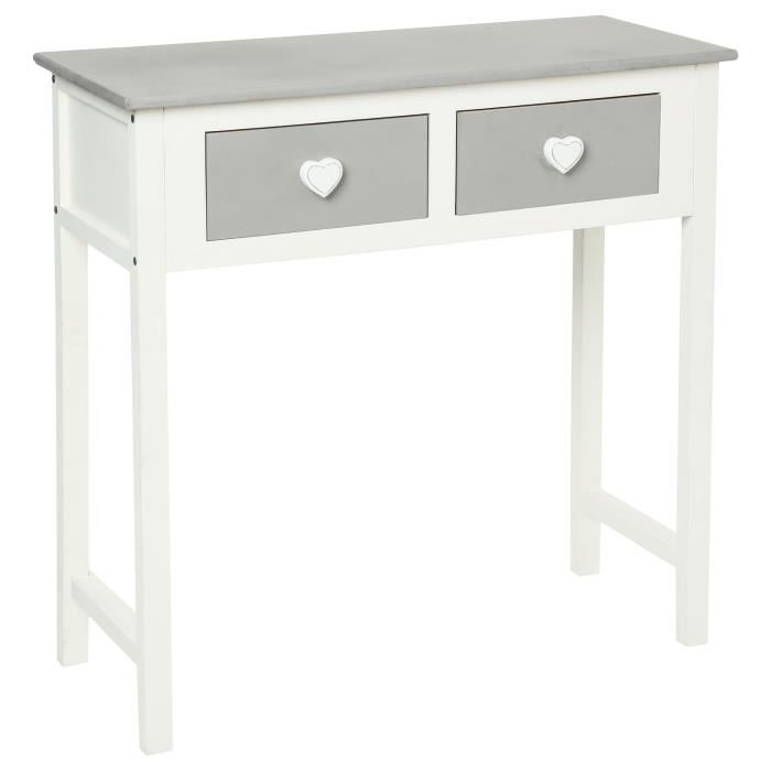 console 2 tiroirs coeurs blanc et gris meub achat vente console console 2 tiroirs. Black Bedroom Furniture Sets. Home Design Ideas