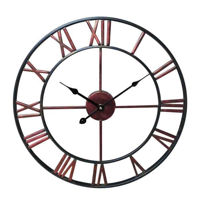 Foxom 40cm Horloge pendule murale en Bois et en Fer Wall Clock r/étro Silencieuse le d/écor Salon Wall Clock rétro Silencieuse le décor Salon