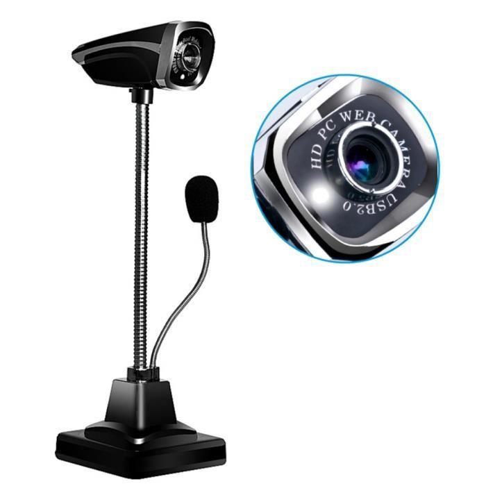 USB 2.0 Filaire Webcam PC cam/éra Portable r/églable Angle HD LED de Vision Nocturne avec Microphone pour Ordinateur Webcam 3 Millions de cam/éras HD