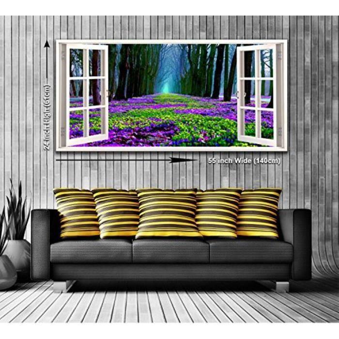 TABLEAU - TOILE Tapis de fleurs vue depuis une fenêtre panoramique