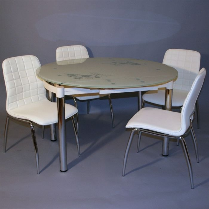 ensemble table ronde en verre 4 chaises blanc achat. Black Bedroom Furniture Sets. Home Design Ideas