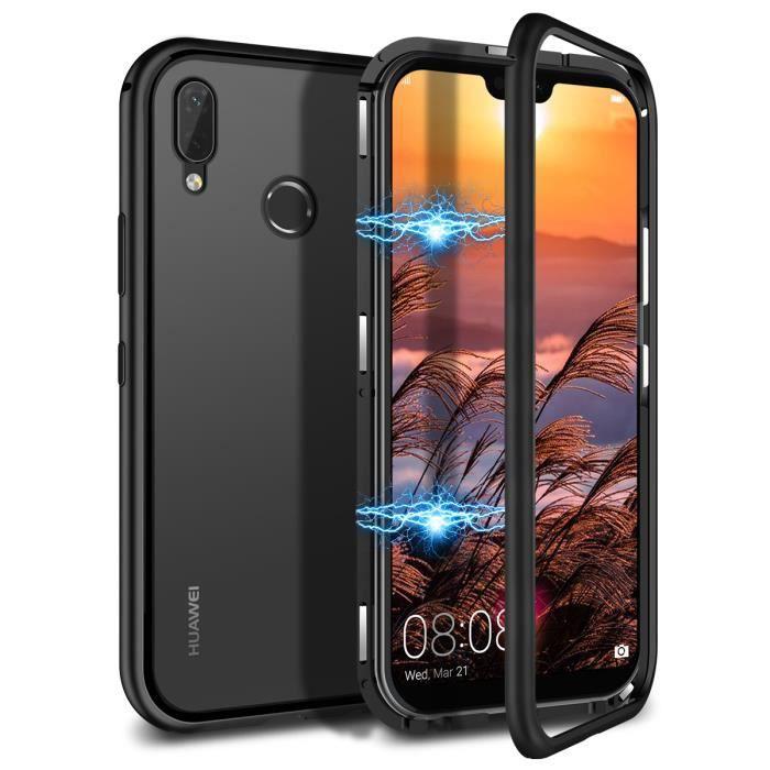 GrandEver Coque Huawei P20 Lite d'adsorption Magnétique Bumper Ultra Fin verre trempé Antichoc Cover (pas de verre avant) Noir