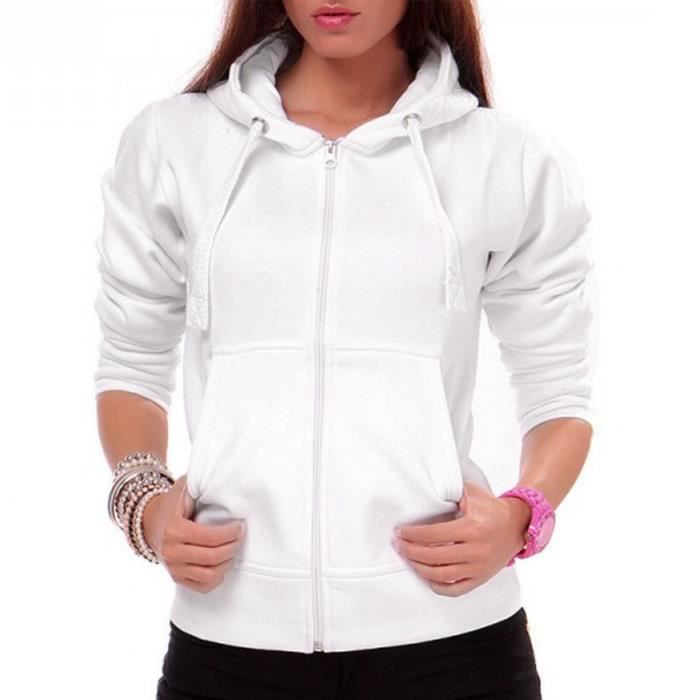 24brands gilet capuche femmes blanc blanc achat vente veste cdiscount. Black Bedroom Furniture Sets. Home Design Ideas