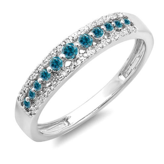 Bague Femme Diamants 0.25 ct14 ct 585-1000 Or Blanc Rond Bleu Diamants 1-4 ct