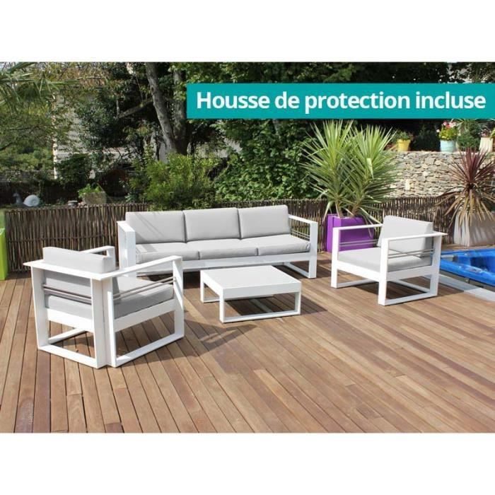 Salon bas 4 pcs BRISBANE blanc - Achat / Vente salon de jardin Salon ...