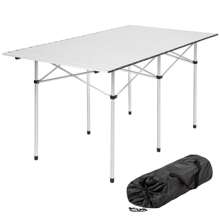 table de camping table de pique nique aluminium pliante 140 cm x 70 cm x 70 cm tectake prix. Black Bedroom Furniture Sets. Home Design Ideas