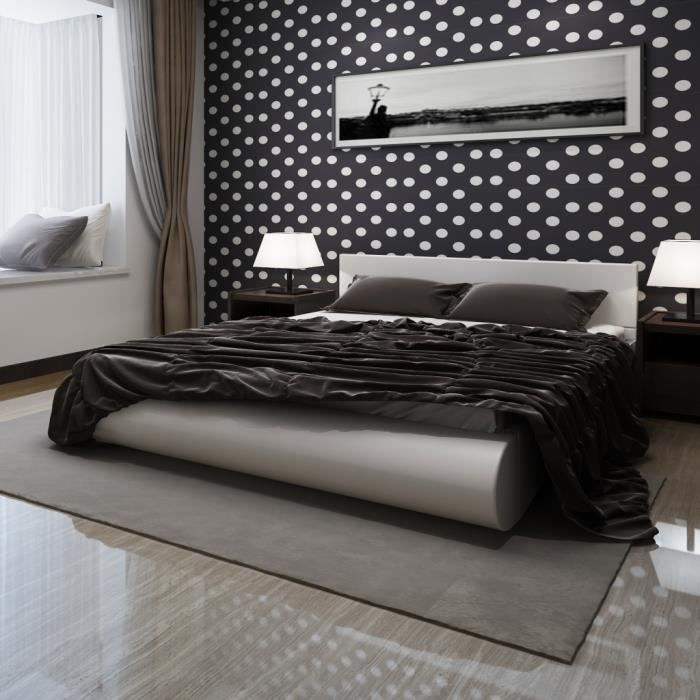 lit en cuir artificiel 140 x 200 cm blanc achat vente lit complet les soldes sur. Black Bedroom Furniture Sets. Home Design Ideas