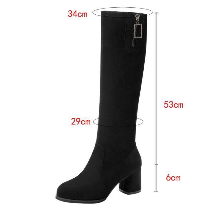 Bottes aux genoux pour femmes Chaussures à talons carrés classiques pour femmes LMH90729552BK35_sim