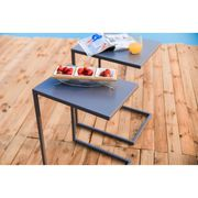 TABLE DE JARDIN  Lot de 2 Tables d'appoint en métal - Gris