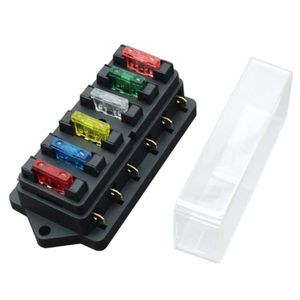 6-WAY ATC Auto Fuse Holder Box 1 in 6 Out Distribution De Puissance Panneau avec fusibles