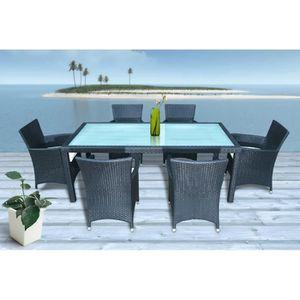 SALON DE JARDIN TABLE + 6 FAUTEUILS EN RESINE TRESSEE LUXE ...