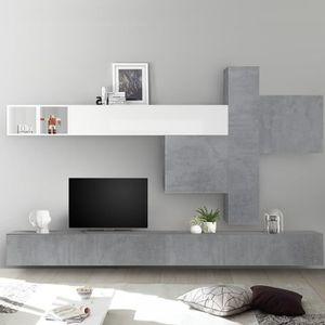 MEUBLE TV Mur TV design gris béton et blanc laqué OSTERIA Gr
