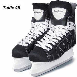 PATIN À GLACE Patins de Hockey sur Glace Noir-Blanc Protège Lame