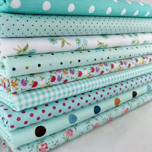 TISSU 9PCS/Set Tissus Coupon Assorti DIY Bleu Coton Mult