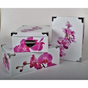 BOITE DE RANGEMENT FLEURS Lot de 3 boites de rangement en carton impr