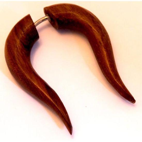 Faux Ecarteur Boucles d/'oreilles Piercing Bois Ethnique Gauge Wooden Fake Wood