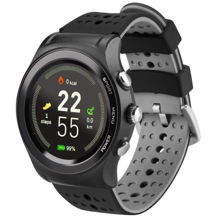 Montre connectée Acme SW301 avec GPS, Moniteur de fréquence Cardiaque, podomètre, Surveillance du Sommeil, Micro & Haut-Parleur