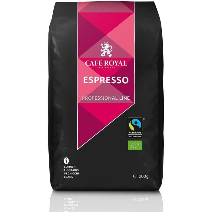 CAFE ROYAL PRO - 5KG CAFE GRAINS UTZ - ESPRESSO BIO - 5 Paquets d'1kg de Café en Grains Bio- Certifié UTZ (éco-responsable)