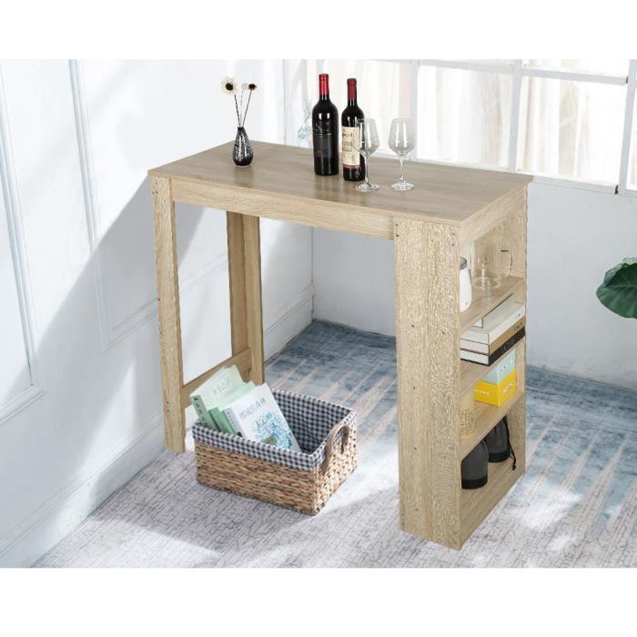 115x50x103CM Table Haute de Bar Mange-debout Cuisine avec rangements – Décor chêne