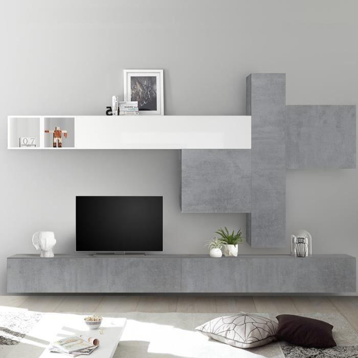 Mur TV design gris béton et blanc laqué OSTERIA Gris L 275 x P 30 x H 200 cm
