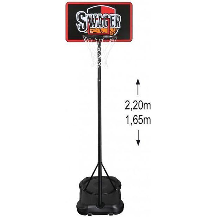 Panier de Basket Swager The Black Mamba 2 sur Pied, Mobile et hauteur réglable 1.6 à 2.55 m - Basketball