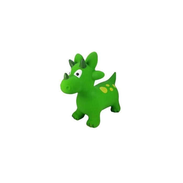 Dinosaure vert triceratops sauteur gonflable enfant, bebe 18 mois - Jusqu'a 50 kg - Ballon Animal a sauter - Jouet premier age