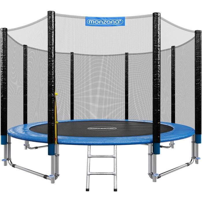 Deuba Trampoline extérieur Rond Ø305cm Max. 150kg Set Complet Filet de sécurité Porte d'entrée échelle poteaux Trampoline Jardin307