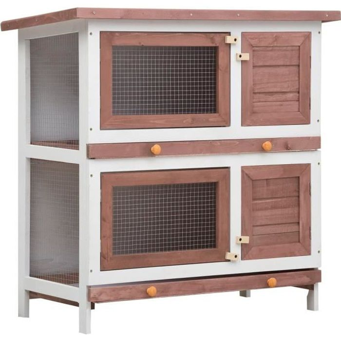 Clapier d'extérieur - Cage Clapier lapin Extérieur Petits animaux - 4 portes Marron Bois -90 x 45 x 90 cm (L x l x H)